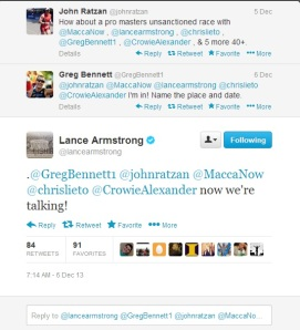 Twitter feed from Lance Armstrong