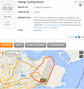 Changi 'time-trial' circuit as detailed on MapmyRide. You can also link this route in with the East Coast route below which makes a solid 80+km ride.