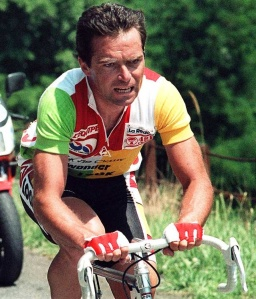 5 time winner of Tour de France - Bernard Hinault, or the 'Badger'.No rider radios then, he was famed for solo breaks of 100+km!