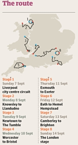 A summary of the Tour of Britain route from the Guardian:click to see full article