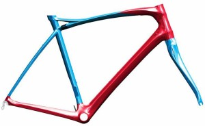 The red section  is the Power Box, a design borrowed from the Xelius EFI, with the headtube/downtube/BB/and chainstays  designed to be oversized and as stiff as possible. The upper blue section is built to be much more forgiving.