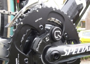 Mix & Match: Saxo Bank 2013 rig featured a Quarq powermeter-equipped Specialized S-Works crankset with the older SRAM Red chainrings and front derailleur